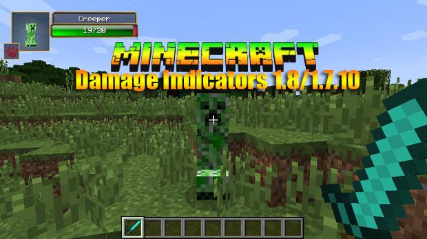 Мод Damage Indicators для Майнкрафт 1.8/1.7.10