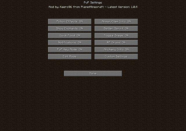 Скачать мод на PvP для Майнкрафт 1.7.10, 1.8.8, 1.8.9